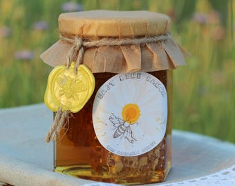100% Pure Raw Organic Unfiltered Wildflower Chunk Honey. 12 oz.