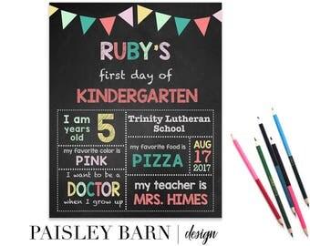 First Day of School Print | Girls, digital download, custom, printable, chalkboard, 1st day of Kindergarten, preschool, school signs, pink