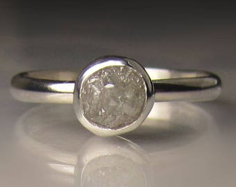 Raw Diamond Ring, Rough Diamond Engagement Ring, Palladium Sterling Silver
