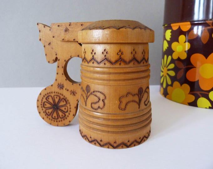 Vintage hand carved Stein mug