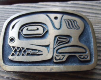 Bronze Buckle Native American Whale, Stylized Whale Bronze