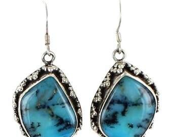 Summer Sale : ) Peruvian Opal Sterling Earrings #3
