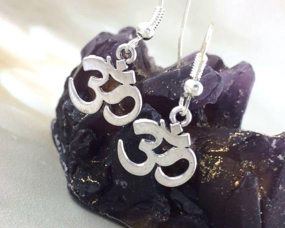 Silver Om Hindu Earrings
