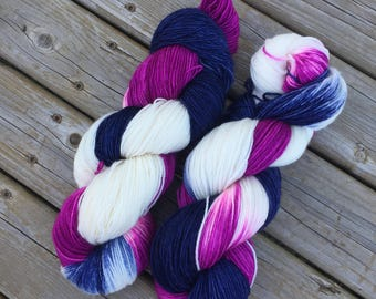 Hand Dyed yarn, sock yarn superwash merino wool nylon fingering sock weight yarn 75-25 blend, blue, navy, purple, pink variegated, white