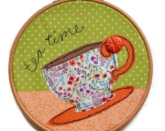 Tea Time Free Motion Stitched Applique  Hoop art.
