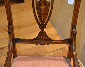 Antique Edwardian small salon chair inlaid marquetry mahogany reupholstered