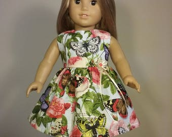 18 inch Doll Clothes Floral Butterfly Print Dress will fit American Girl Doll Clothes Handmade