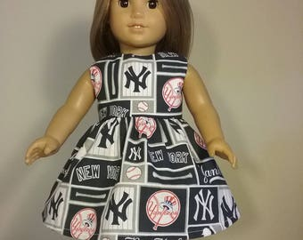 18 inch Doll Clothes Handmade New York Yankees Baseball Print Dress fits American Girl Doll Clothes