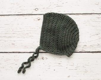 Toddler Girl Bonnet in Green - 12 to 24 Months (Skyla)