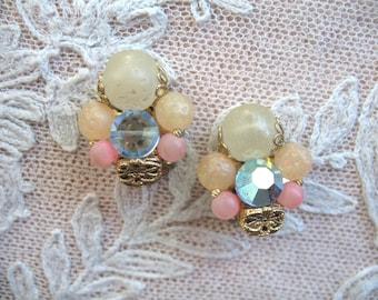 Vintage Cluster Earrings ~ Clip On ~ Pastel Plastic Beads & AB Rhinestone
