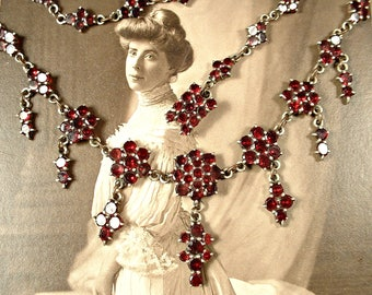 RARE Antique Victorian Bohemian Garnet Necklace, Vintage 1890s Rose Cut Genuine Gemstone Garnet Necklace Gold on Silver Red Bridal Statement