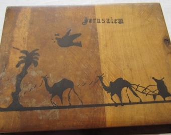 Rare Vintage Olive Wood Box Jerusalem Hand Painted Bezalel Style Made in Israel Judaica