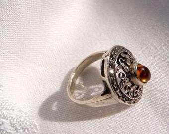 Victorian style sterling Baltic amber ring   marcasite cast pierced filigree   Victorian Revival vintage ring   size 6.5