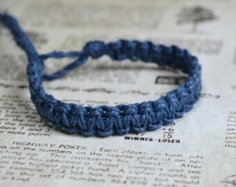 Surfer Macrame Hemp Bracelet Navy Blue Woven Knot Friendship Bracelets