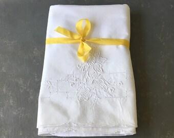 Vintage Pillowcases,  Crochet Trim, white on white