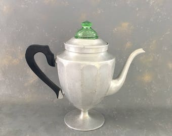 Vintage Coffee pot, green depression glass, stove top, pour over, aluminum, silver, metal
