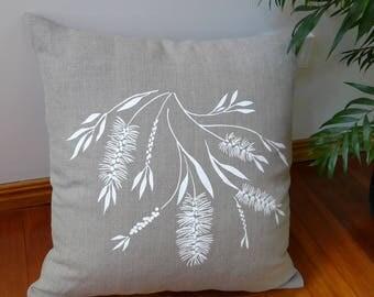 Linen Cushion Cover Screen Printed Linen Cushion Cover Hand Printed Pillow Cover White&Natural Australian Bottlebrush