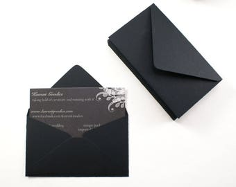 LAST CHANCE - 35 black envelopes - 2 1/8 x 3 5/8 - love notes, gift card enclosure, packaging, florist