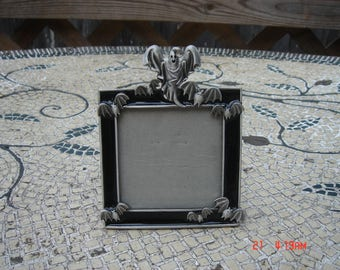 Square Black Enamel Ghost and Bats Picture Frame