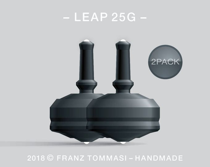 LEAP 25G 2PACK Black – Value-priced set of precision handmade spin tops with dual ceramic tip and integrated rubber grip