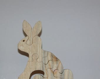 Rabbit Puzzle for Children - Kid's Bunny Puzzle - Wooden Animal Puzzle - Child's Decor