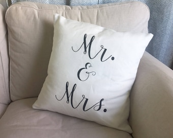 """Mr. and Mrs. 18""""(inch) decorative pillow COVER ONLY - farmhouse decor"""