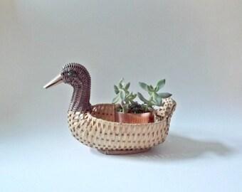 Vintage Wicker Planter, Duck Planter, Duck Basket, Boho Planter, Jungalow Decor, Gift For Her