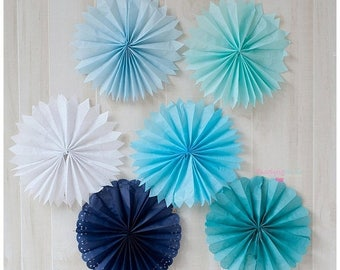 ON SALE Tissue Fans Rosettes Hanging Tissue Pinwheels COLORS of your Choice Tissue Fan Medallions Party Decoration photo prop table backdrop