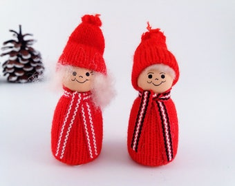 Vintage Ljungstroms of Sweden Set of 2 Christmas Ornaments, Grandma and Grandpa Couple, Hand Made Wood Miniature Doll Figurines from Sweden