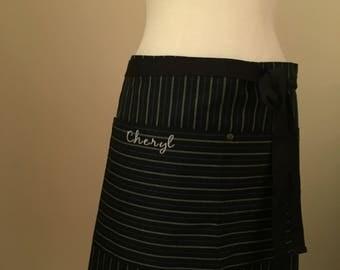 Apron Half Japanese Denim Customized Name Black Striped