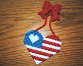Plastic Canvas 4th of July Patriotic Heart Refrigerator Magnet