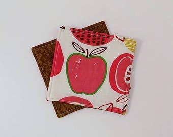Mod Apple Fabric #2 Coasters Pair Mug Mats Set of Two