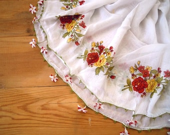 white cotton scarf, white red flower, turkish needle lace, oya