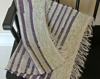 Cotton Rag Rug-Hand-Woven-Union #36 Rag Rug Loom-Cottage Decor-Floor Covering-Purple-Sage