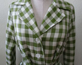 Vintage green and white color coat with buttons and a belt for decoration plus made in USA (C62)