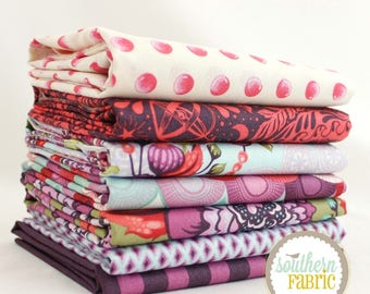 "Elizabeth - Plum - Fat Quarter Bundle - 7 - 18""x21"" Cuts - Tula Pink - Free Spirit Quilt Fabric"