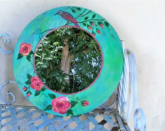 Round wooden wall mirror, shabby chic, re cycled wood, Bohemian mirror, country cottage, bird roses mirror, boho chic decor, turquoise gypsy