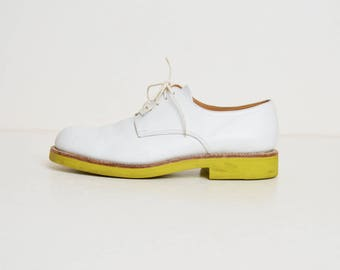 Vintage 90s Jil Sander White Leather Oxfords shoes 8