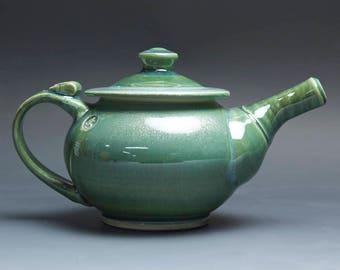 Handmade pottery teapot stoneware personal tea pot 24 ounce jade green 4028