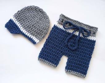 Crochet Baby Boy Outfit_ NewsBoy Crochet Hat and Shorts _NewBorn Boy Crochet Outfit _Newborn Baby Boy Photo Props