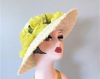 50% OFF SALE Vintage 1960's Wide Brim Sun Hat / Yellow Rose Floral Cello Straw Size Medium Ladies Hat