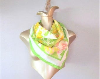 """50% OFF SALE Vintage Large AVON Scarf / Green White and Yellow Soft Acetate """"Sm Kent"""" Square Neck or Hair Scarf Made in Japan"""