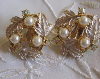 Vintage Judy Lee Leaf and Faux Pearl and Iridescent Rhinestone Clip On Earrings