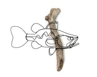 Bass Wall Art, Bass Wire Sculpture, Fish Art, Fish Wallhanging, Fish Wire Art, 556029750