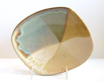 David Salk Small Modern Drip Glaze Freeform Plate