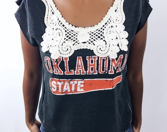 OOAK Granny Chic Oklahoma State University tee with vintage crochet neckline and piping size Small/Medium