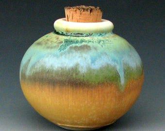SMALL CERAMIC JAR #12 - Apothecary Jar - Small Jar - Ceramic Bottle - Cork - Spice Jar - Small Urn - Pottery Jar - Stoneware Bottle