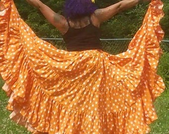 25yd Tiered Cotton Tangerine with White Polka Dot Skirt