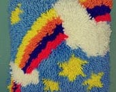 """Vtg 12"""" Square Rainbow Clouds & Stars Latch Hook Pillow Retro 1970s Hand Made Colorful Multicolor Collect Decoration Shaggy Novelty Cushion"""