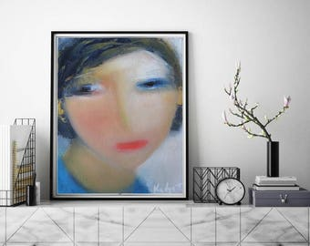 """Abstract art painting female face, figurative small original oil on canvas 8""""x10""""x1.5"""" blue nude red lips lady looking  super concentrated"""